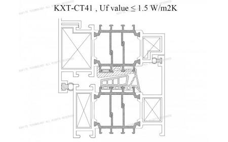 Uf 1,5 K / m2K CT 41 mm rotura de puente térmico | Soluciones para el marco de la ventana de aluminio